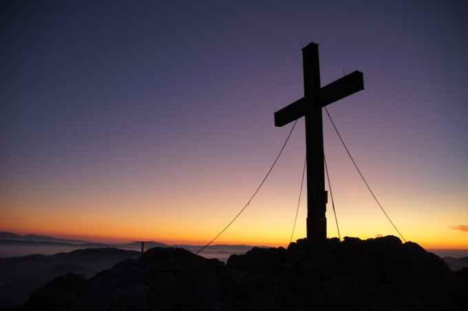 cross dawn dusk landscape
